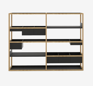 Lap Shelving - Oak Frame/Black Shelves