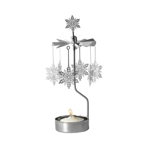 Silver Snowflake Rotary Candle Holder
