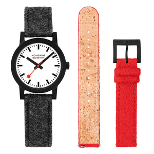 SBB Essence 32mm Grey/Red Felt Strap Watch