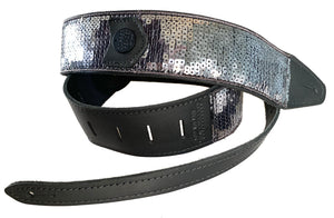 Copperpeace Glovely Sequin Guitar Strap Black Leather and Grey Sequins
