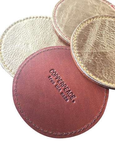 Copperpeace Gold Leather Coasters - Set of 4