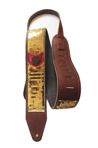 Gold Glovely Sequined Guitar Strap