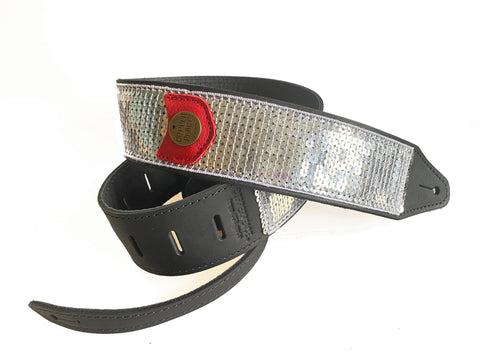 Silver Glovely Sequined Guitar Strap