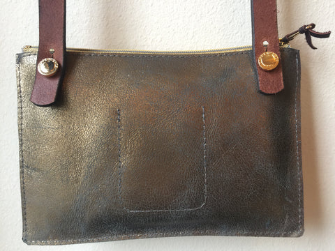 Bronze Leather Crossbody Pouch