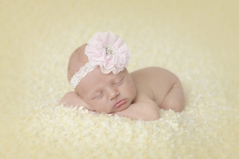 Cute Cute Pink Chiffon Flower & Lace Headband -  Spoiled Rotten Childrenswear