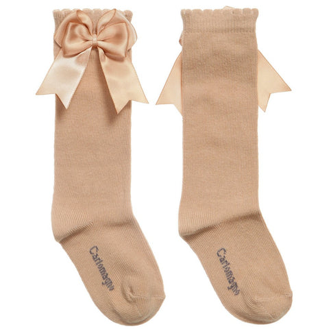 Carlomagno Camel Knee High Double Satin Bow Socks -  Spoiled Rotten Childrenswear