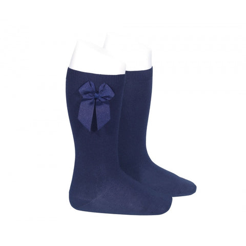 Condor Navy Knee High Socks with Grosgrain Side Bow -  Spoiled Rotten Childrenswear