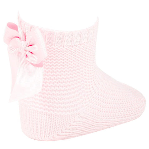 Condor Pink Moss Stitch Ankle Socks with Bow -  Spoiled Rotten Childrenswear