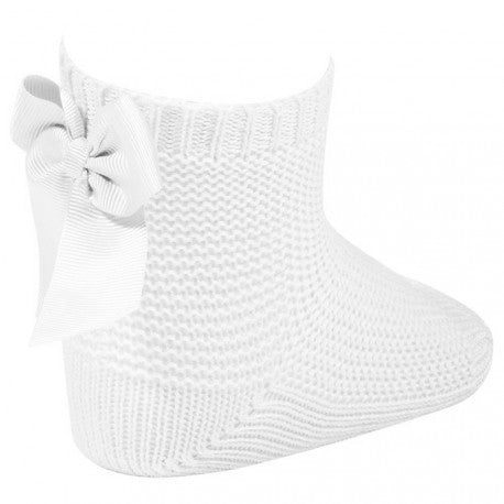 Condor White Moss Stitch Ankle Socks with Bow -  Spoiled Rotten Childrenswear