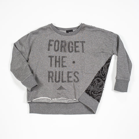Fun & Fun Girls Grey 'Forget the Rules' Sweater -  Spoiled Rotten Childrenswear