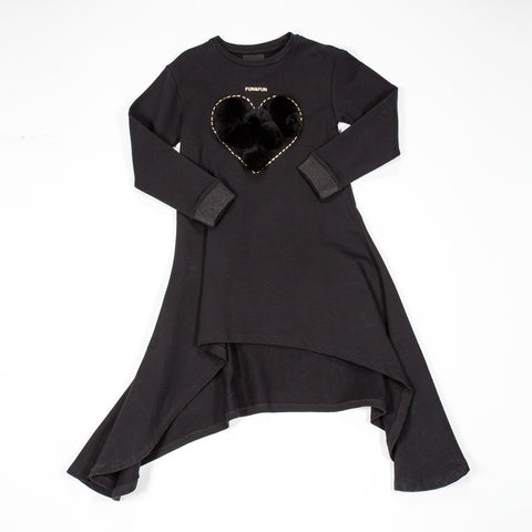 Fun & Fun Girls Black Heart Dress -  Spoiled Rotten Childrenswear