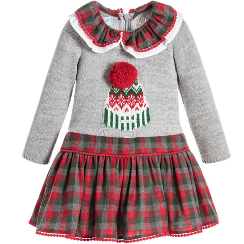 Foque Girls Grey Knit & Red Tartan Dress - Last 12 months -  Spoiled Rotten Childrenswear