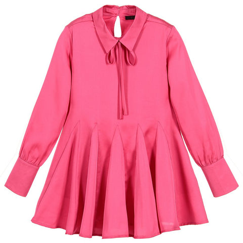 Fun & Fun Girls Pink Satin Shirt Dress