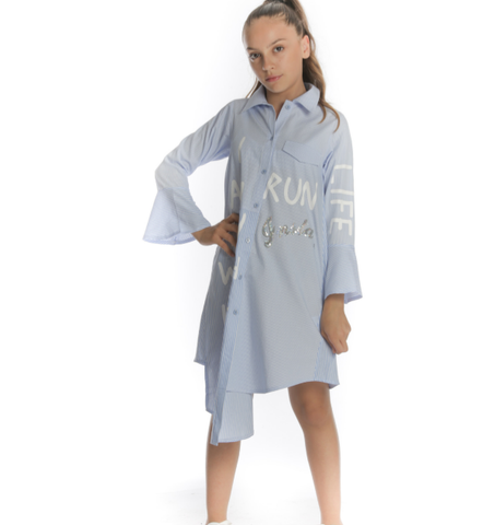 Fun & Fun Girls Blue Cotton Shirt Dress -  Spoiled Rotten Childrenswear
