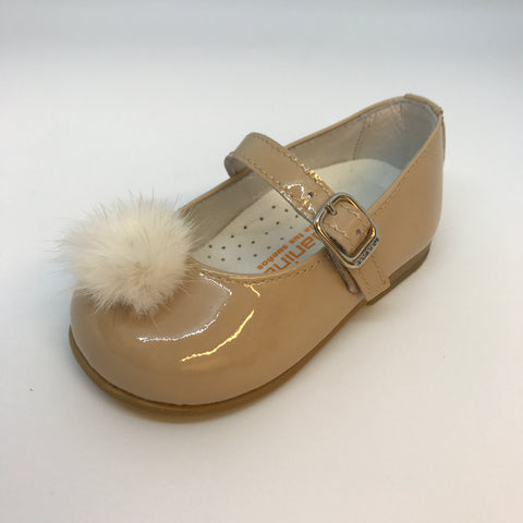 Andanines Girls Camel Patent Pom Pom Mary Janes -  Spoiled Rotten Childrenswear