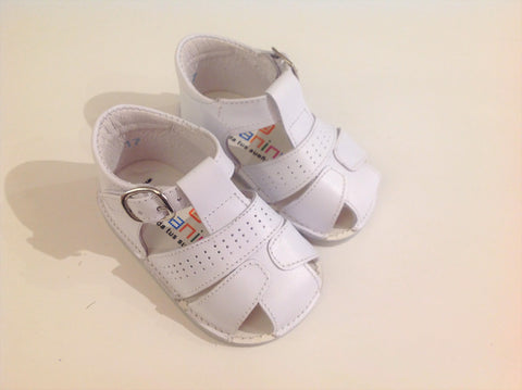 Andanines White Leather Pre-Walker Sandals - Last EU 17 -  Spoiled Rotten Childrenswear