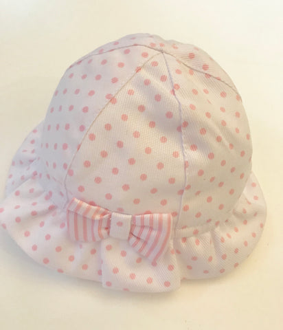 Sardon Girls White & Pink Spot Sun Hat -  Spoiled Rotten Childrenswear