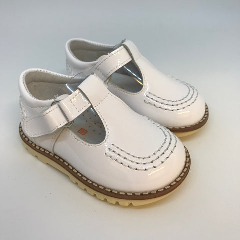 Andanines Boys White Patent Leather T-bar Sandals