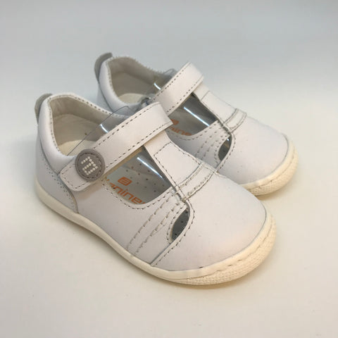 Andanines Boys White Leather First Walkers