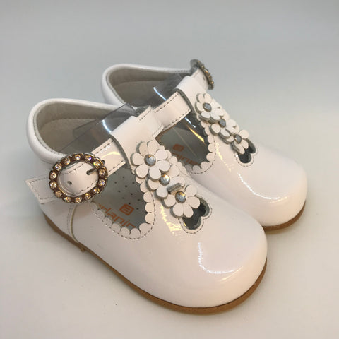 Andanines Girls White Patent Flower T-Bar Shoes -  Spoiled Rotten Childrenswear