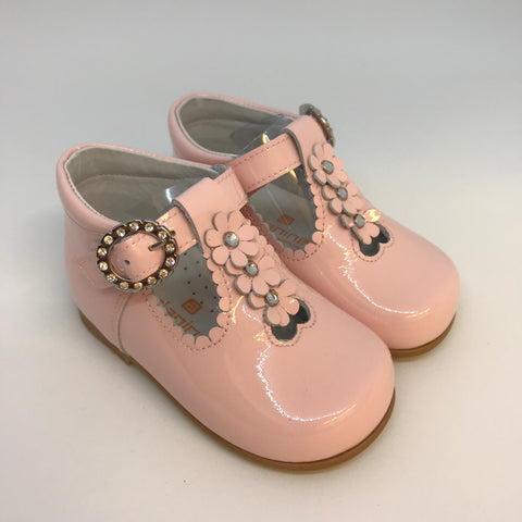 Andanines Girls Pink Patent Flower T-Bar Shoes -  Spoiled Rotten Childrenswear