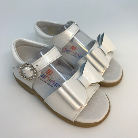 Andanines Girls White Pearlised Patent Sandals -  Spoiled Rotten Childrenswear