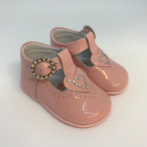 Andanines Baby Girls Pink Diamante Heart Pram Shoes -  Spoiled Rotten Childrenswear