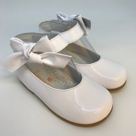 Andanines Girls White Patent Ankle Strap Shoes - LAST EU 31 -  Spoiled Rotten Childrenswear