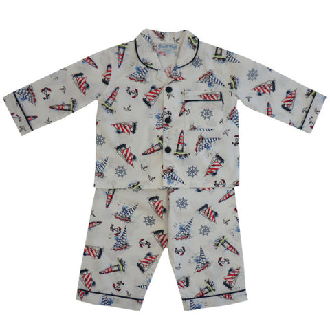 Powell Craft Nautical Print Pyjama Set - Last 8-9 years -  Spoiled Rotten Childrenswear