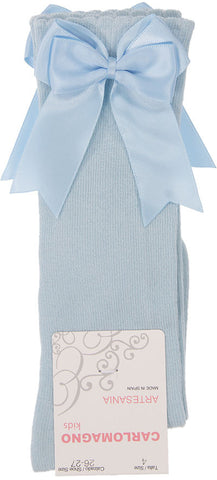 Carlomagno Sky Blue Knee High Double Satin Bow Socks -  Spoiled Rotten Childrenswear