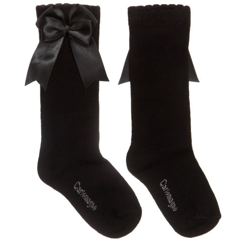 Carlomagno Black Knee High Double Satin Bow Socks -  Spoiled Rotten Childrenswear