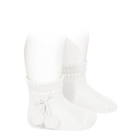 Condor White Pom Pom Ankle Socks -  Spoiled Rotten Childrenswear