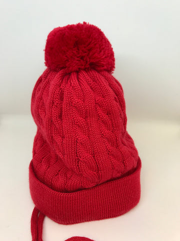 Maximo Red Wool Pom Pom Hat -  Spoiled Rotten Childrenswear