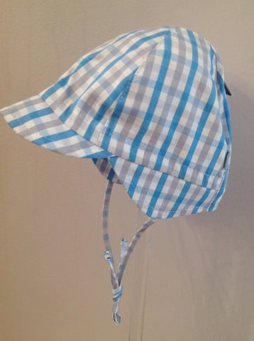 Maximo Boys Blue Checked Capped Summer Hat -  Spoiled Rotten Childrenswear