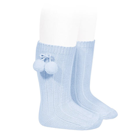 Condor Blue Knee High Socks with Pompoms -  Spoiled Rotten Childrenswear