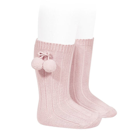 Condor Pink Knee High Socks with Pompoms -  Spoiled Rotten Childrenswear