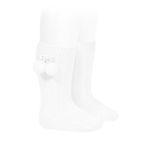 Condor White Knee Hign Socks with Pompoms -  Spoiled Rotten Childrenswear