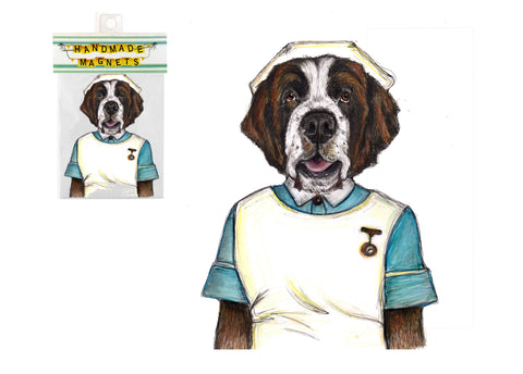 Saint Bernard Nurse Dog Magnet