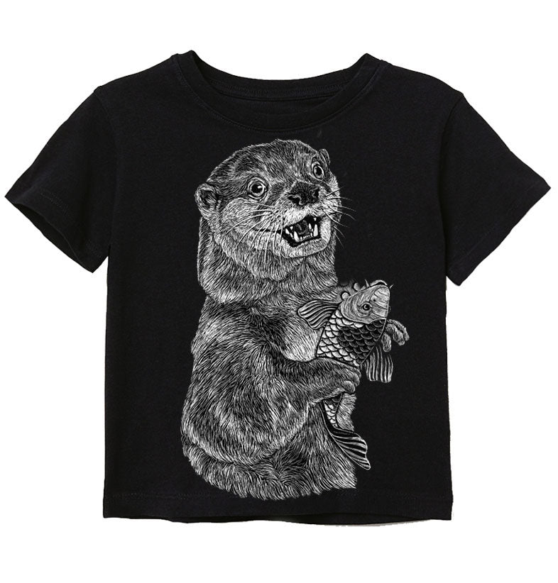 Black Otter with Koi Fish Toddler & Kids Tee