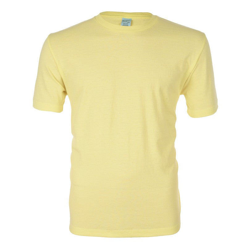 Medium Heather Yellow Cotton T Shirt - choose logo