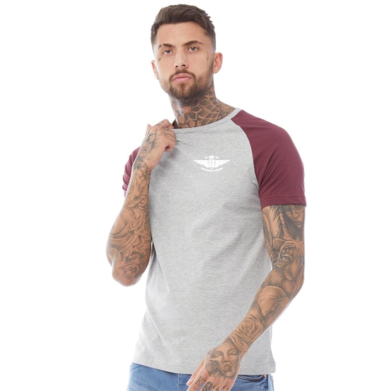 XL Grey Marl/Burgundy T Shirt