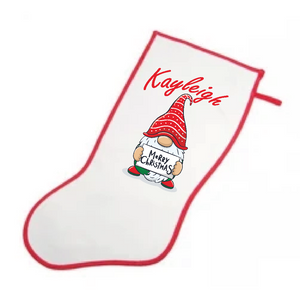 Personalised Stocking - Merry Christmas Gnome
