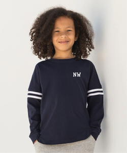 Kids drop shoulder slogan top