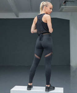 Womens Medium Black panelled leggings - choose logo