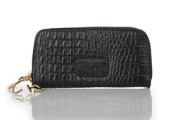 """222"" Black Crocodile Leather Wallet"