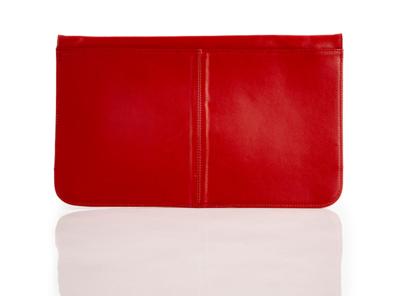 Nicole Clutch Red Snake Embossed Leather