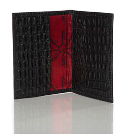 """10:10"" Black Crocodile Passport/Wallet"