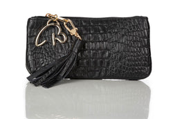 """888"" Black Crocodile Leather Pouch/Wallet"