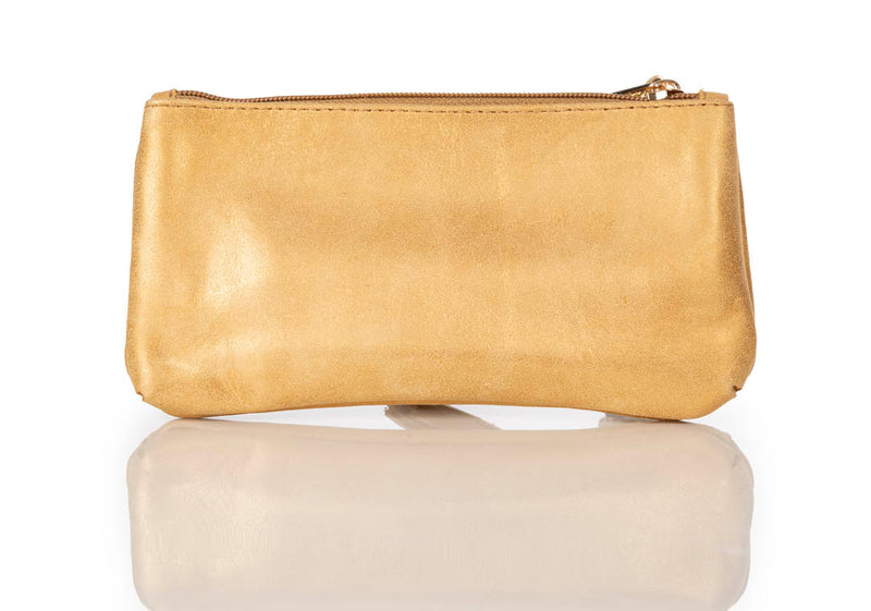 """888"" Metallic Gold Calf Leather Pouch/Wallet"