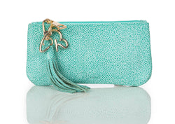 """888"" Aqua Pebbled Calf Leather Pouch/Wallet"